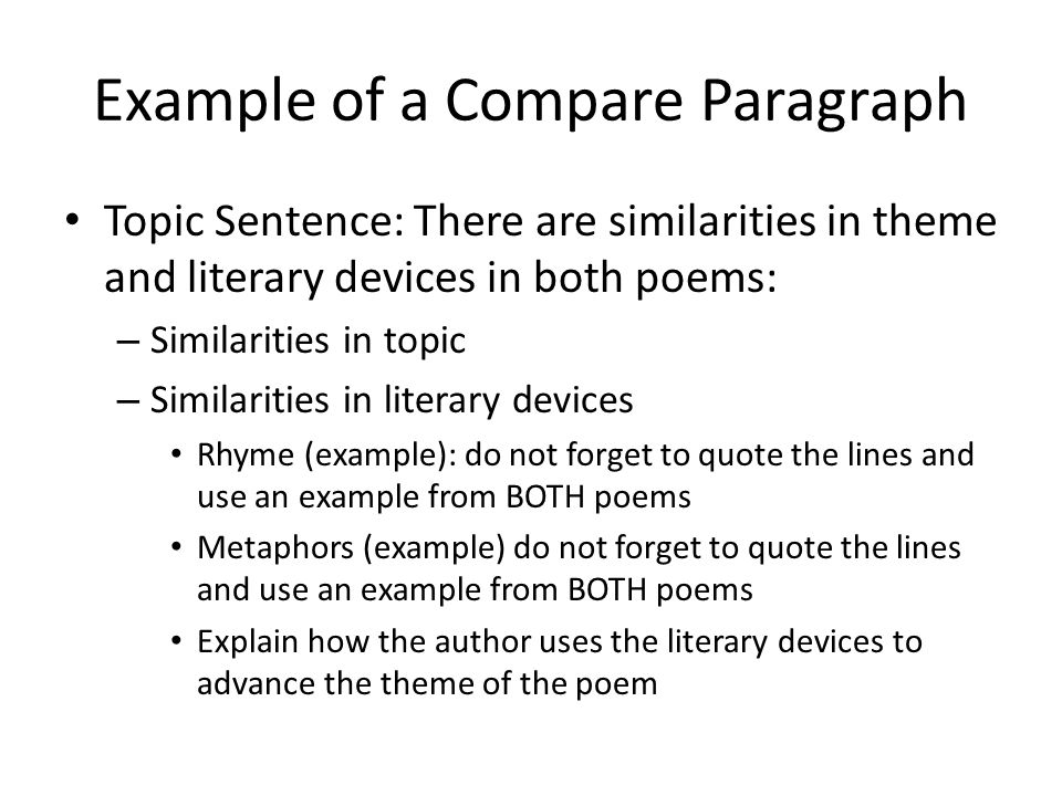 Example Topic Sentences For Compare And Contrast Essays Mistyhamel