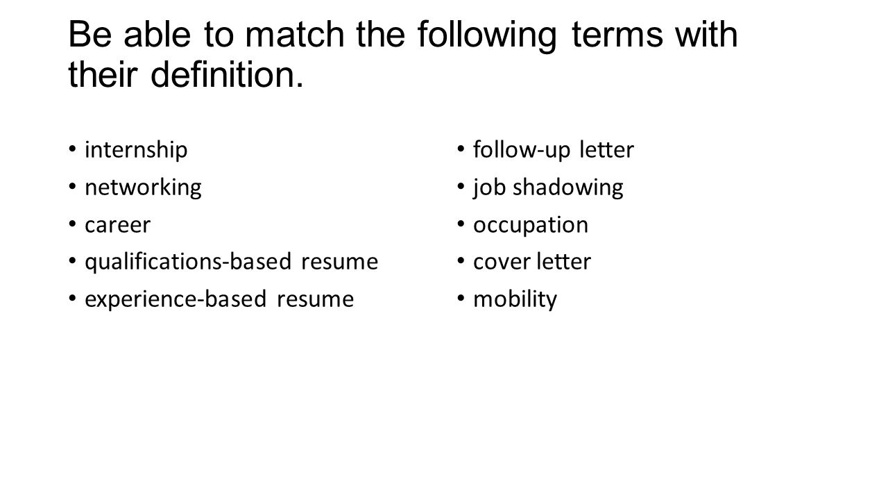qualifications definition resume