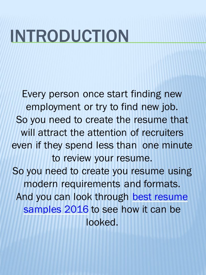 resume modern requirements