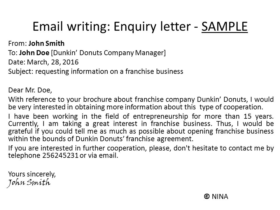 business enquiry letter email format - Minimfagency - Format Of Enquiry Letter