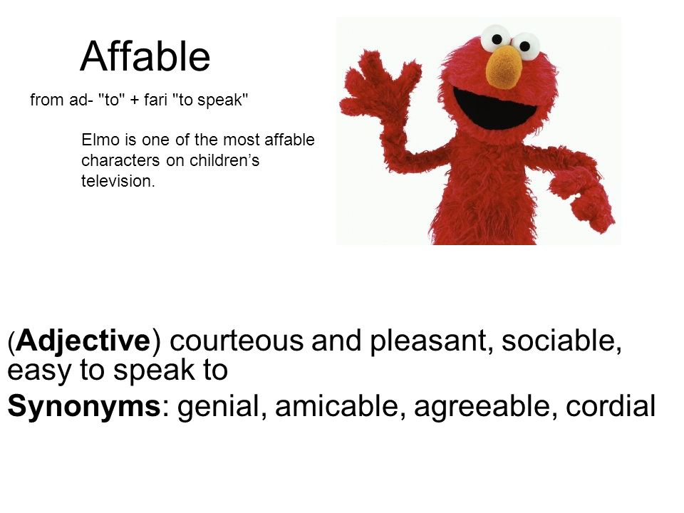 Affable Synonyms genial, amicable, agreeable, cordial - ppt video - synonym for presume
