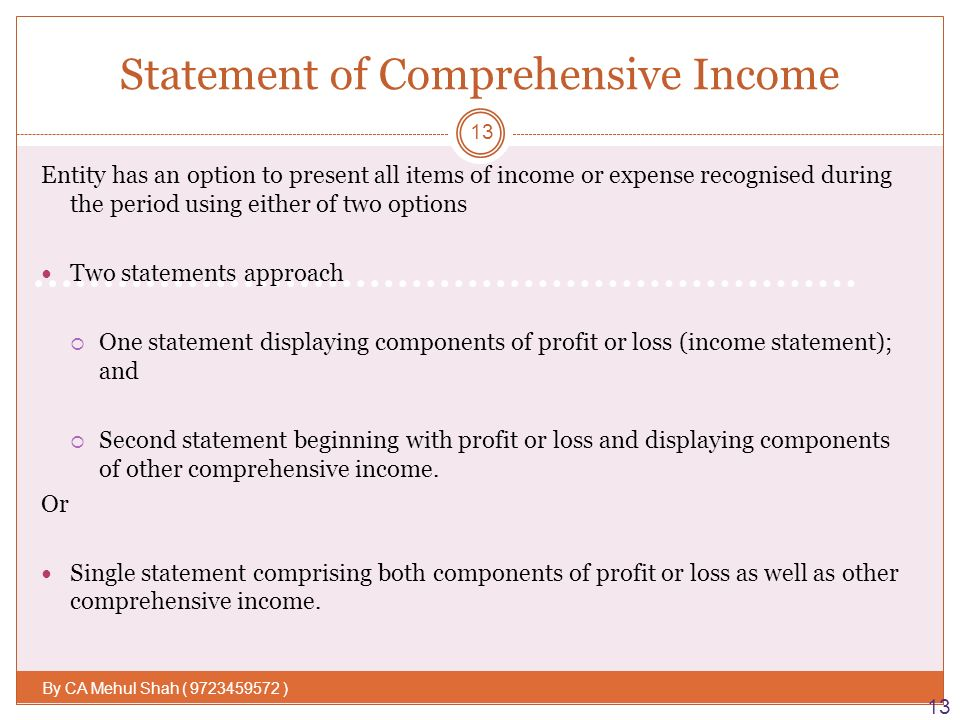 IAS 1\u2013 Presentation of Financial Statement By  Mehul Shah - ppt - components of income statement