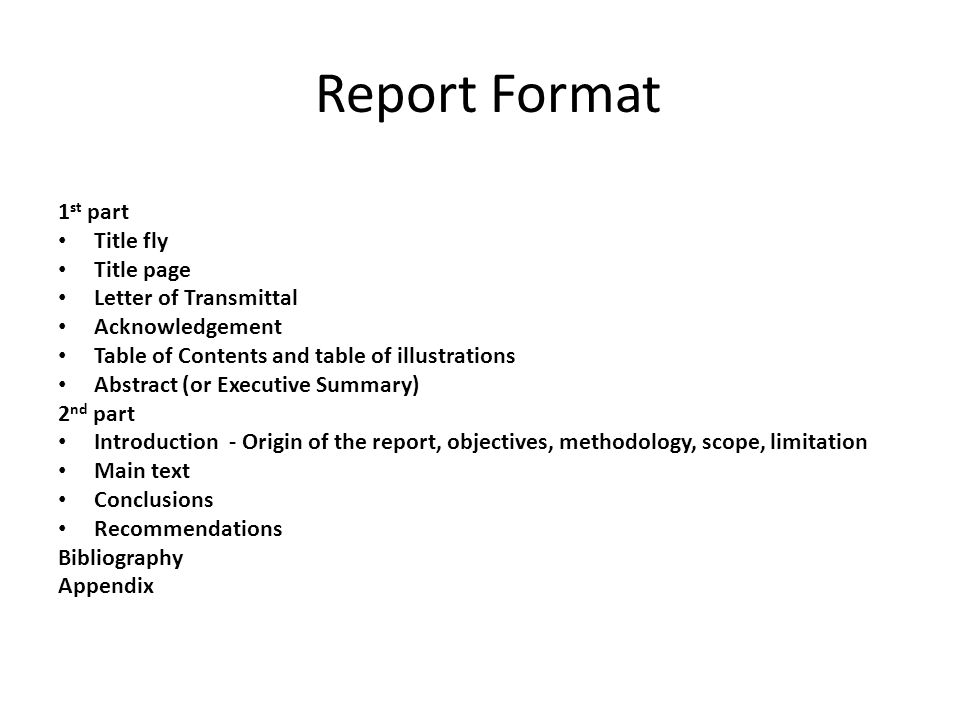 Report Format 1st part Title fly Title page Letter of Transmittal - executive report format