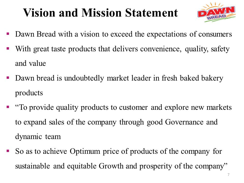 Internship Report Dawn Bread - ppt video online download - fresh 9 production company mission statement examples