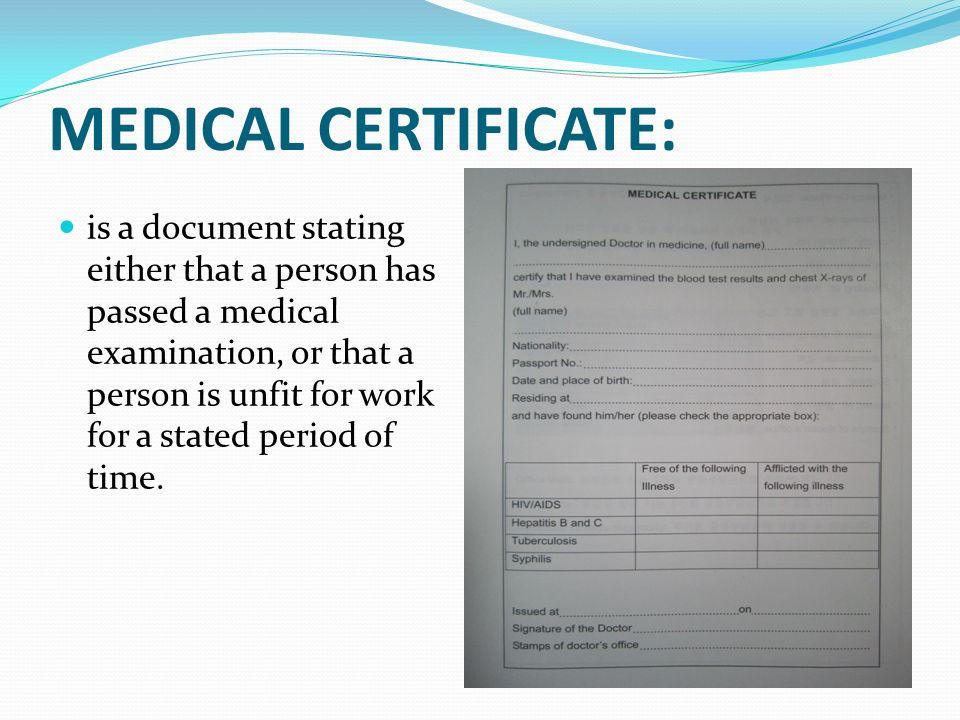 medical certificate from hospital - Baskanidai