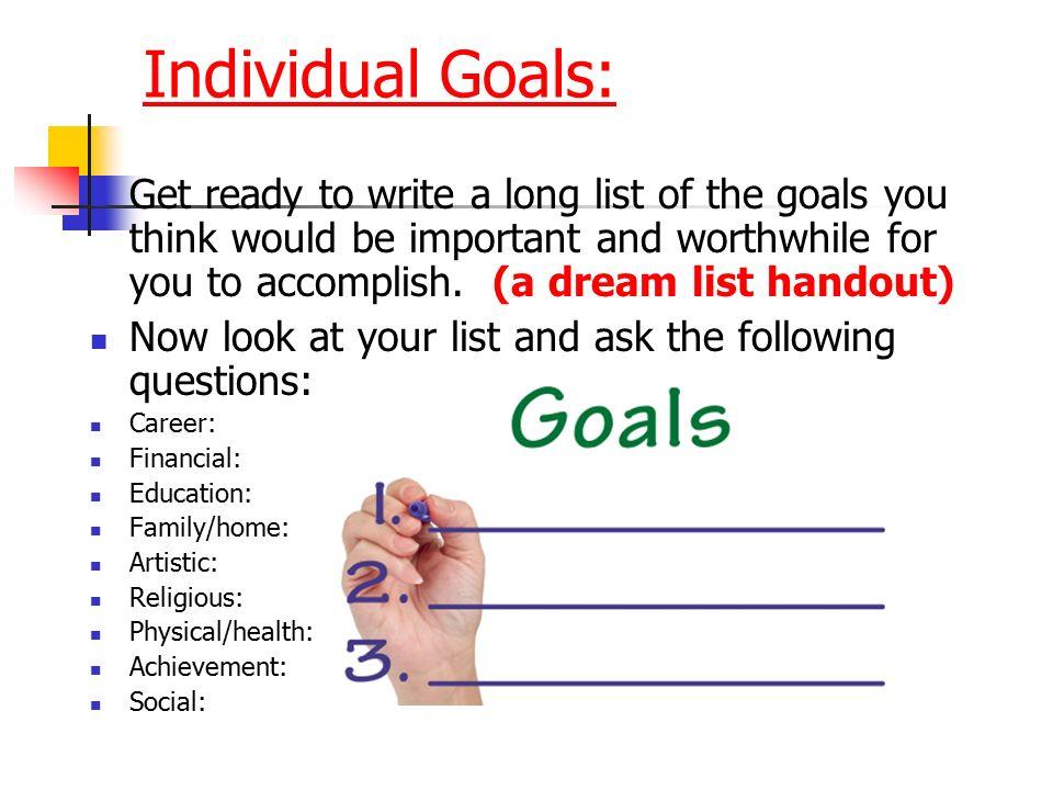 Mr Brown 8th Career Development - ppt download - list of career goals
