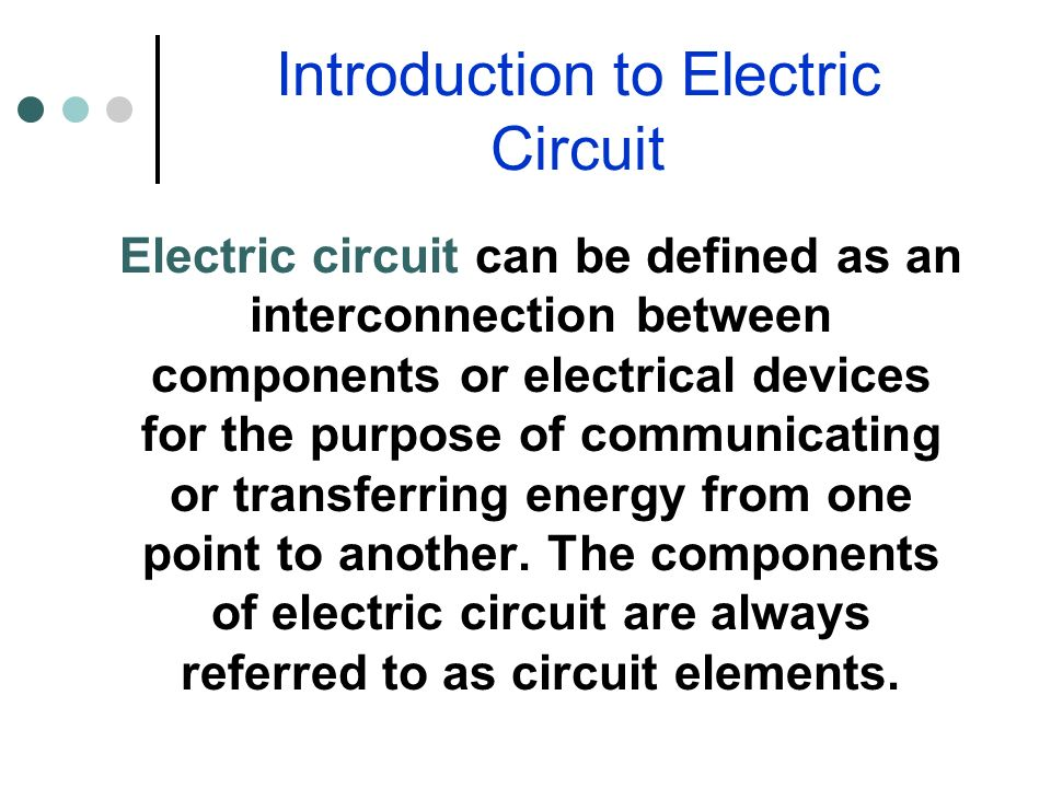 electric circuit of an electric circuit