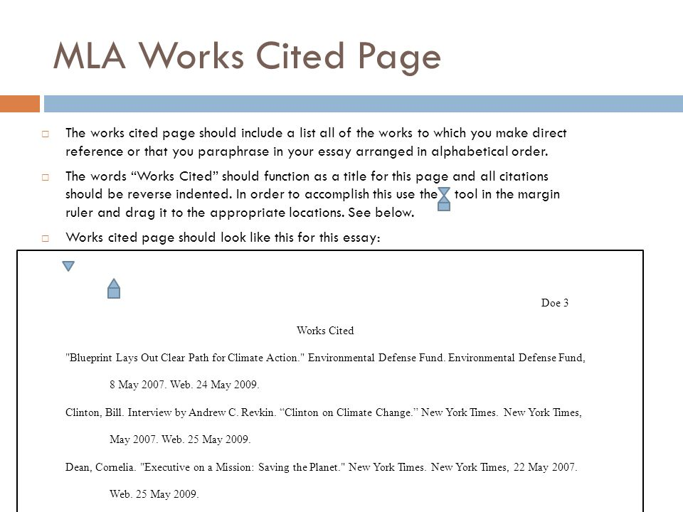 Reference Format Mla Examples