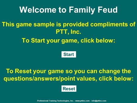 Professional Training Technologies, Inc Welcome to Family Feud - family feud power point template