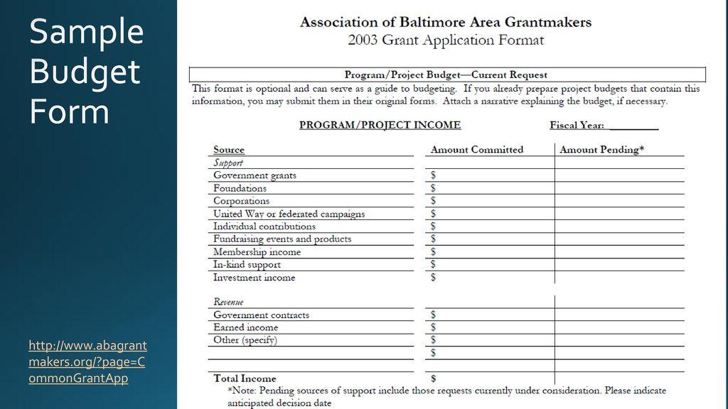 Grant Budget Development - ppt download - budget form
