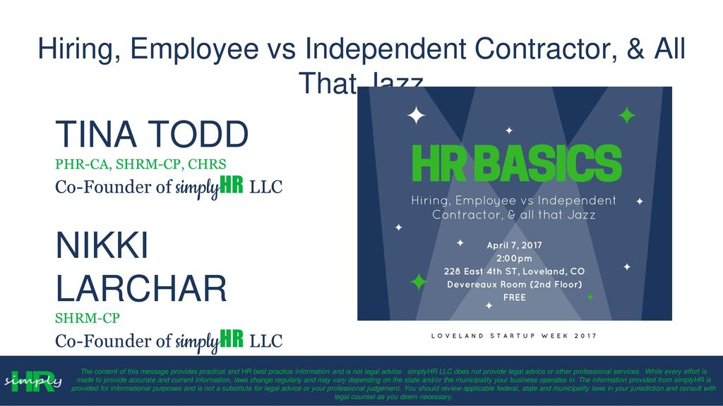 Hiring, Employee vs Independent Contractor,  All That Jazz - ppt - employee or independant contractor