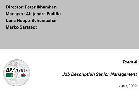 BP Centro Case Top management job descriptions Team 4 Jussi - management job description
