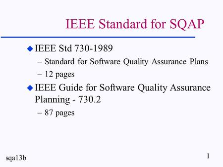 Software Quality Assurance Plan - ppt video online download - quality assurance planning