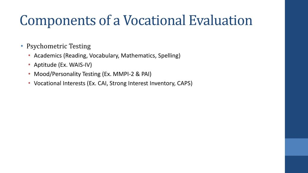 Evaluation and Testing in Vocational Rehabilitation - ppt download - avocational interests