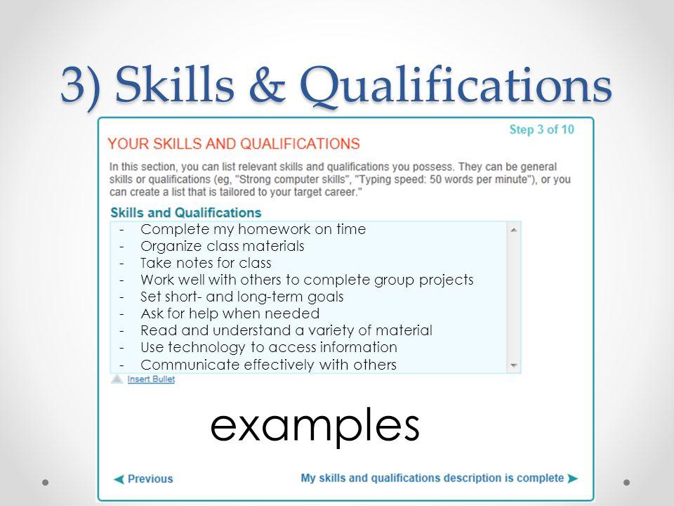 resume information needed