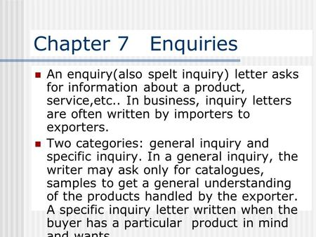 Click to edit Master subtitle style 2nd Group  INQUIRY LETTER 1 - example of inquiry letter for product