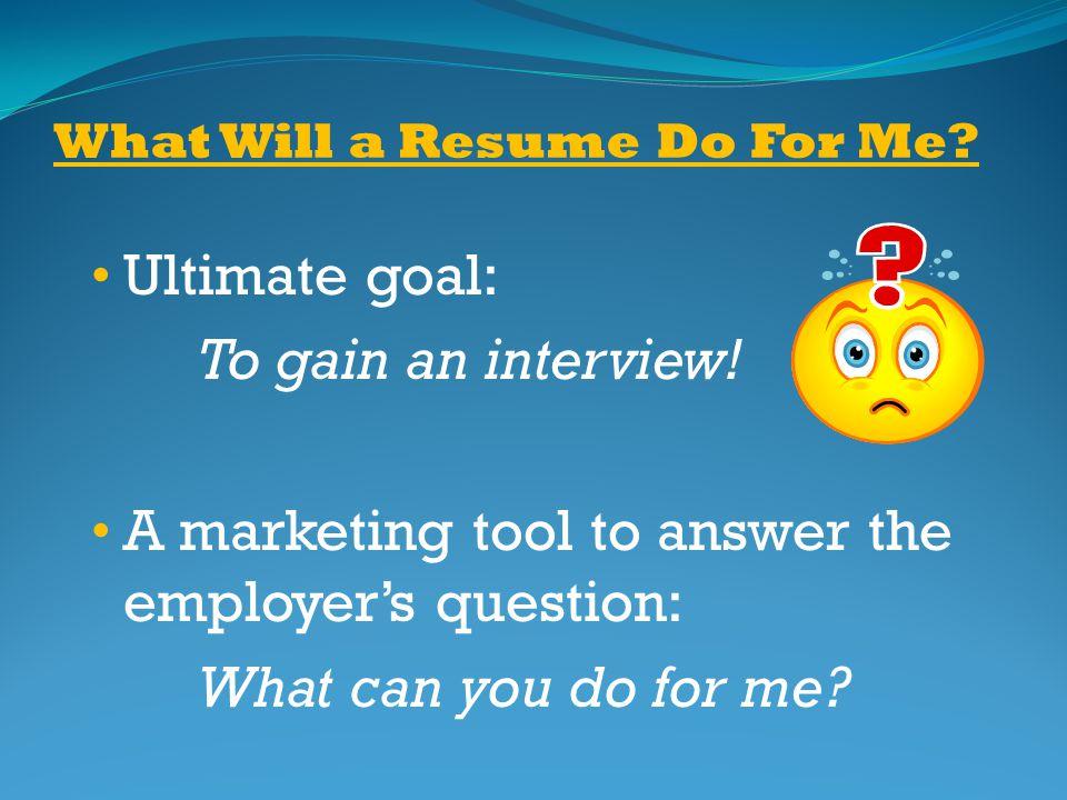 resume ultimate goal