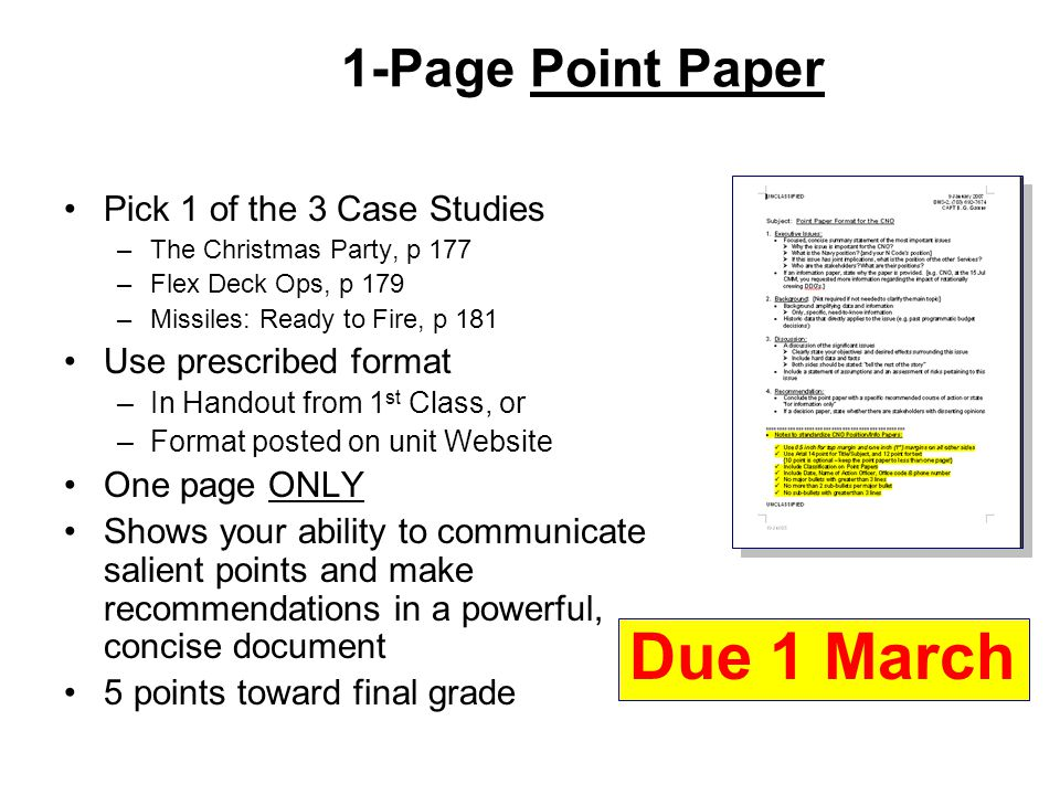 Point paper format navy example - Does anyone have an example of a