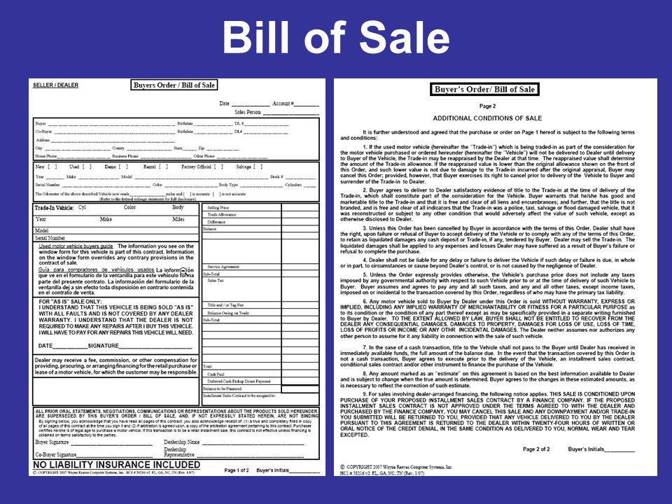 www bill of sale form