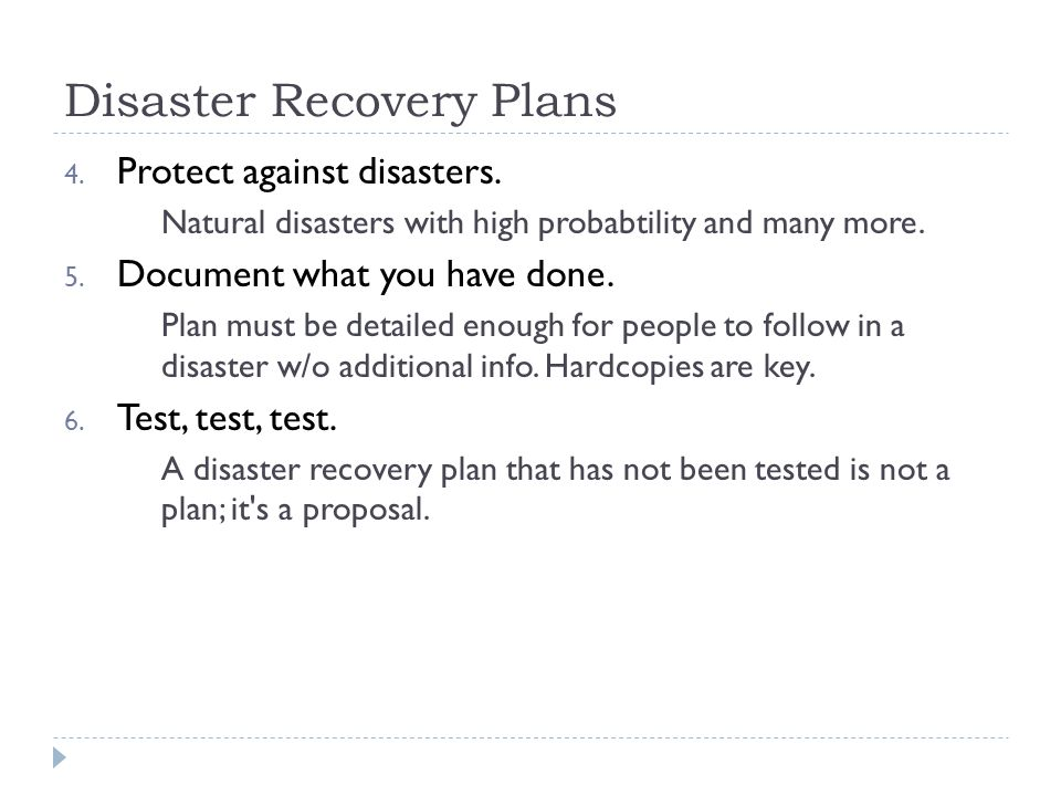 IST346 Disaster Recovery Data Integrity Backups - ppt video - recovery plans