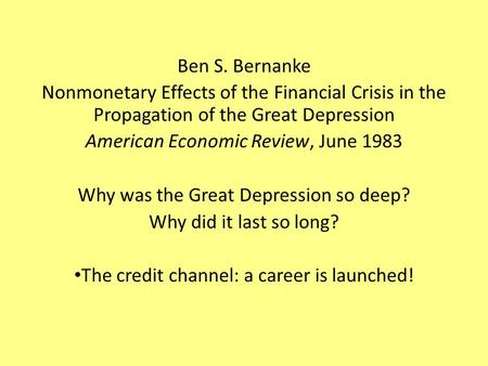 Write my bernanke essays on the great depression