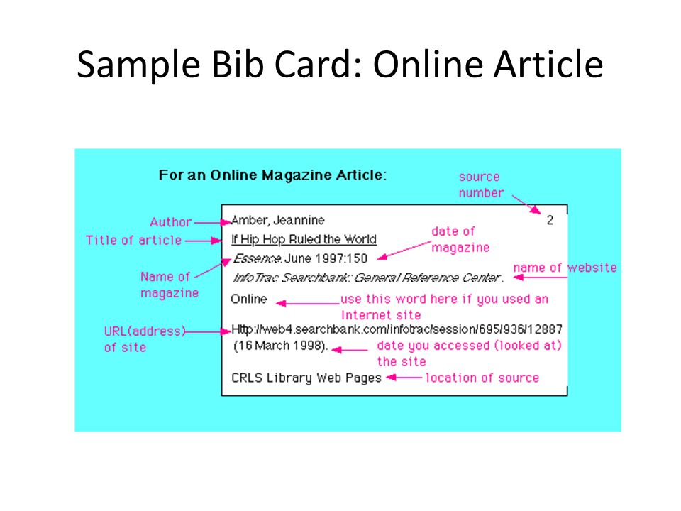 Note and Bib Card Format - ppt video online download - name card example