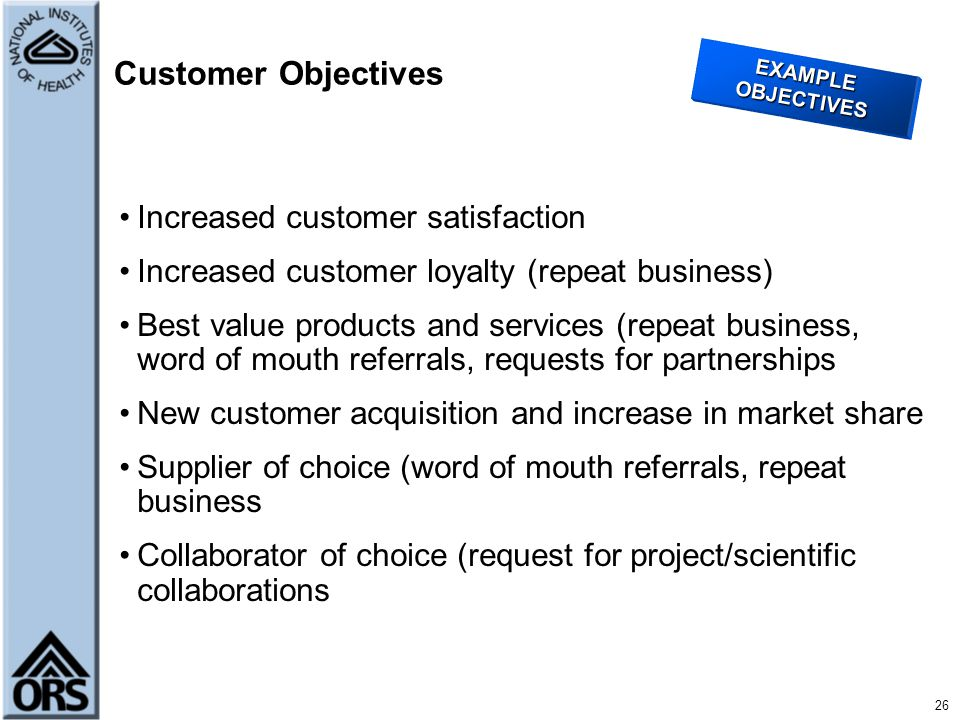 Performance Management Using the Balanced Scorecard Approach - ppt - customer objectives examples