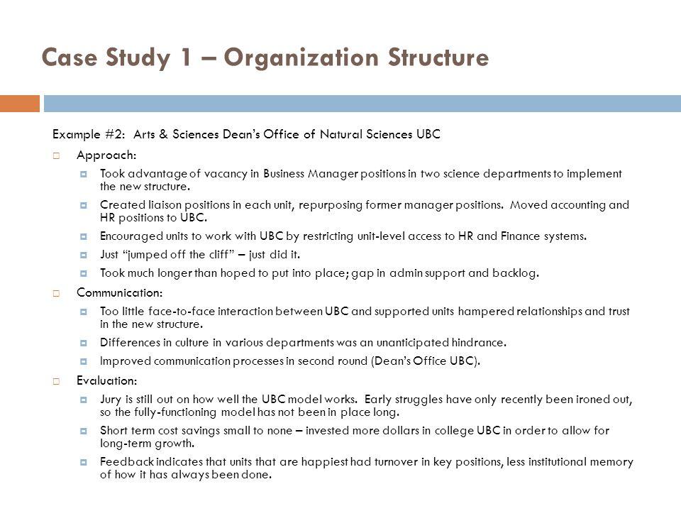 Case study of organizational learning - case analysis