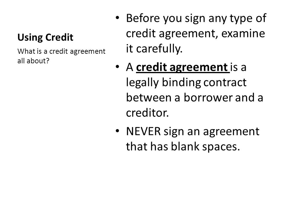 Differentiate between types of credit agreements Term paper Help