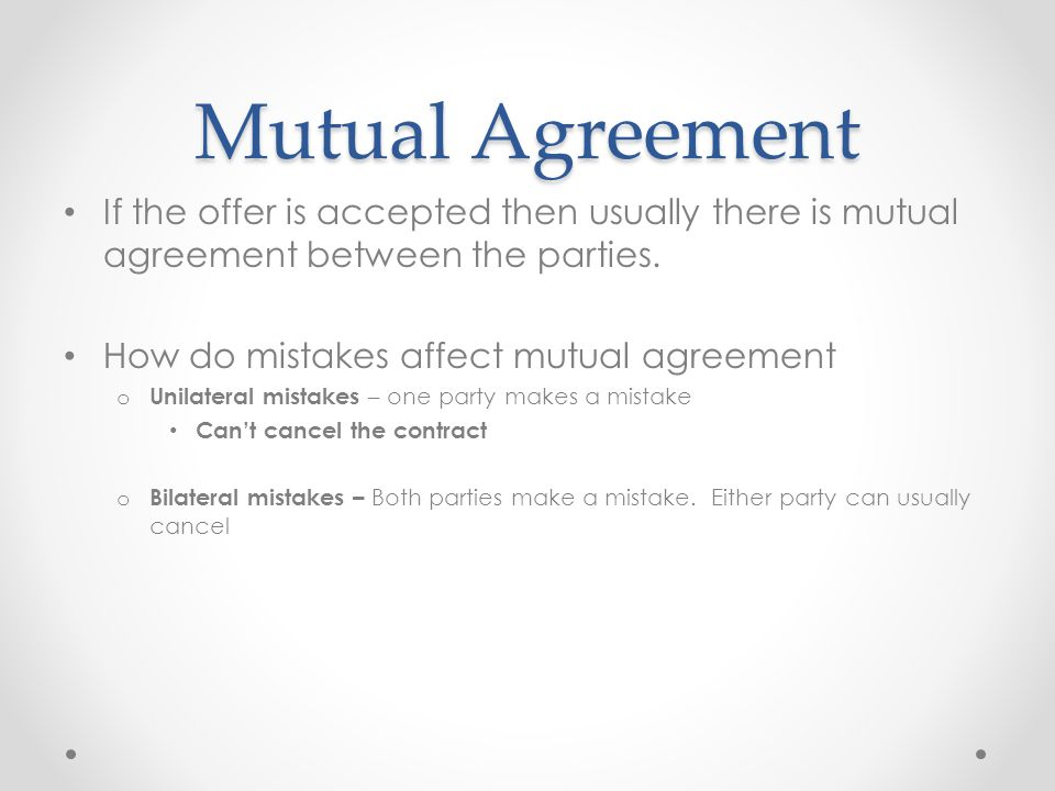 Contract Law - ppt video online download - mutual agreement contract