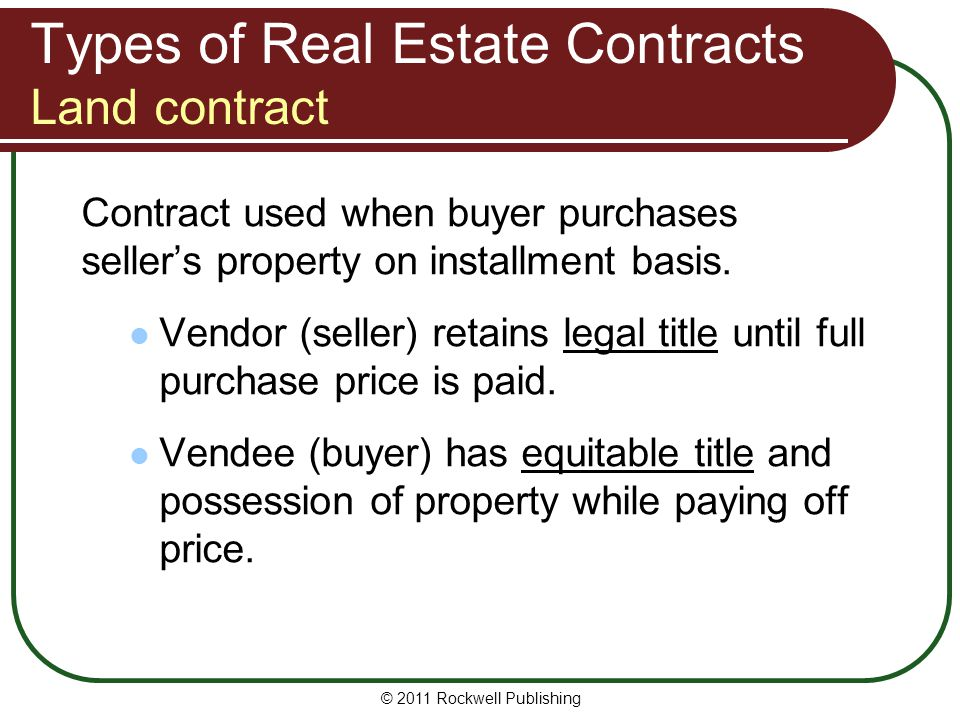 Land Contract Basics This Sample Contract Can Be Used For Virtually