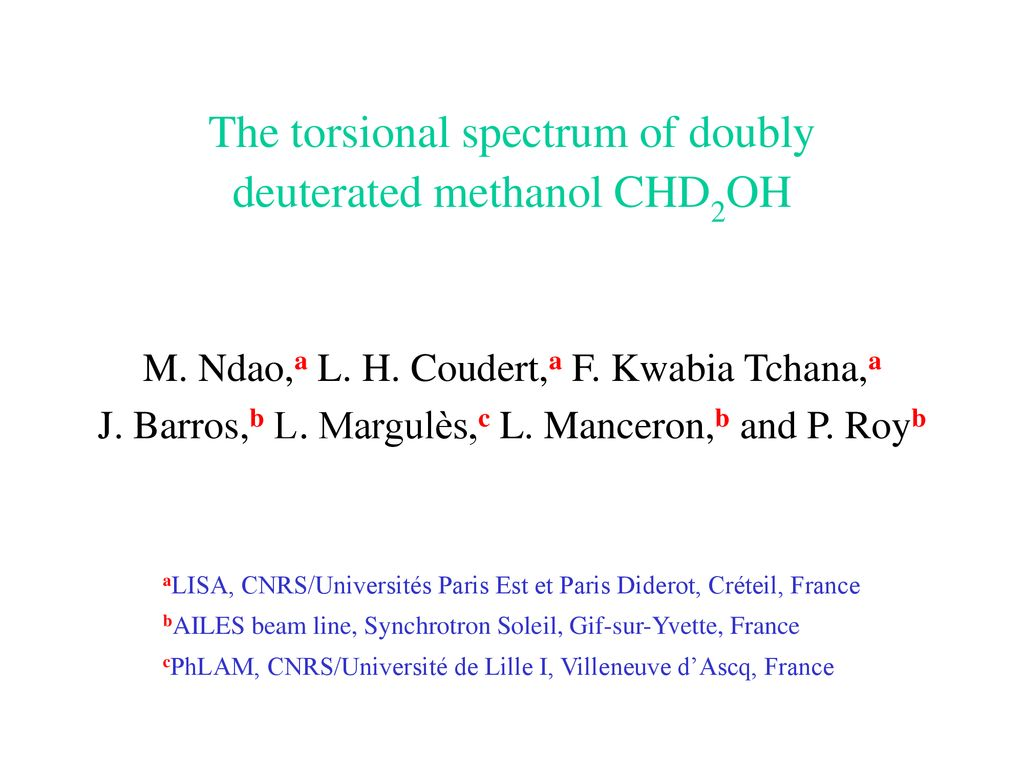 The Torsional Spectrum Of Doubly Deuterated Methanol Chd2oh Ppt Download