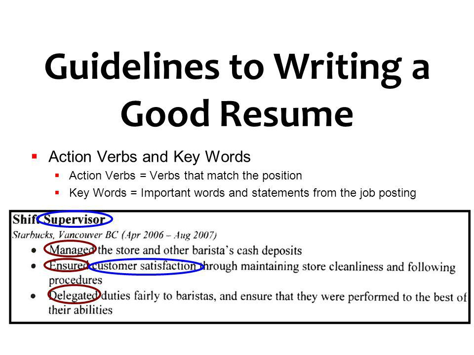 good action verbs