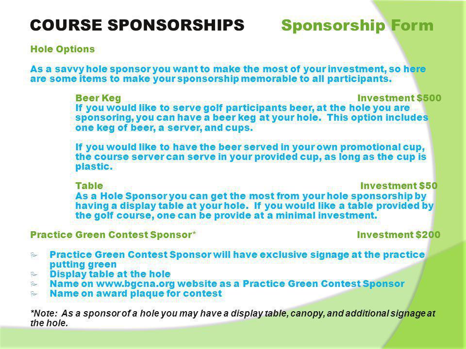 MONday, AUGUST 26, AM Lunch \ Registration 12 Noon Shotgun - ppt - how to make a sponsor form