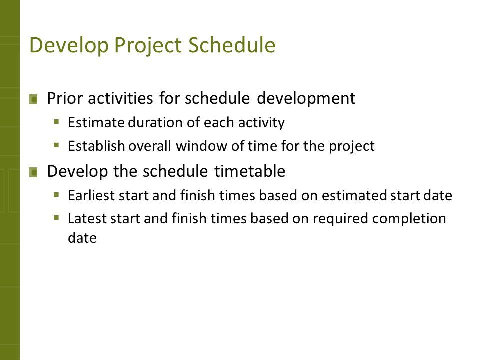 Develop Project Schedule cvfreepro