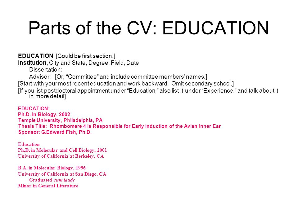 CV\/Resume Strategies and Tips - ppt video online download - listing education on resume