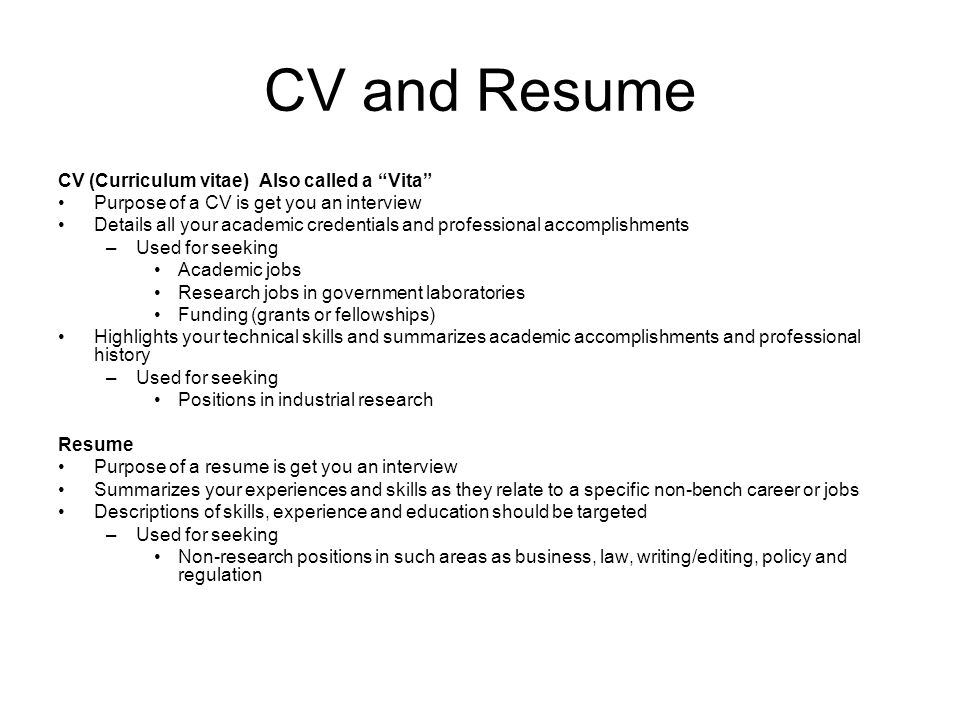 CV\/Resume Strategies and Tips - ppt video online download - purpose of a resume