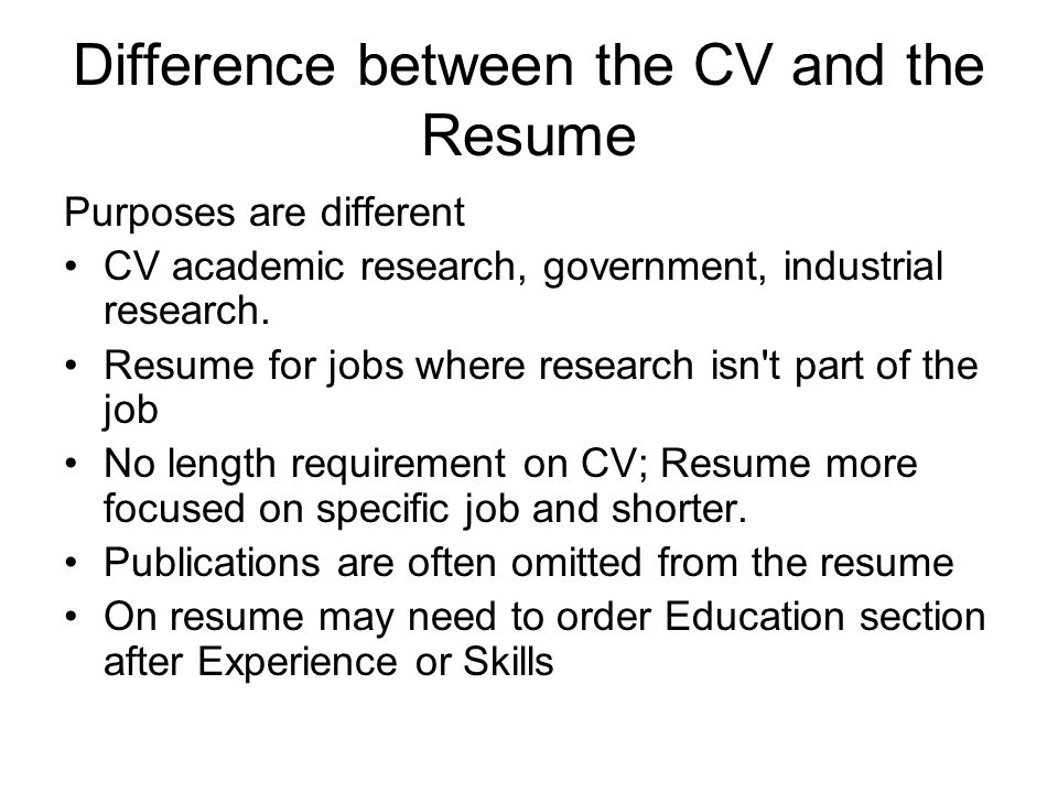 difference in cv and resumes