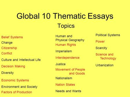 How to Write Papers About Thematic essay topics