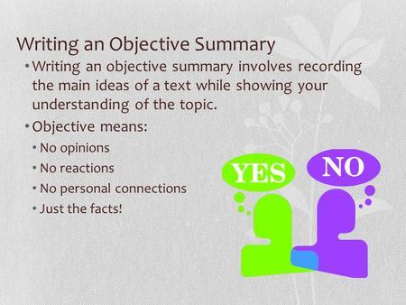 Objective Summary - Lessons - Tes Teach