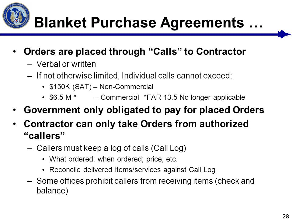 Blanket Purchase Agreements  EnvResumeCloud