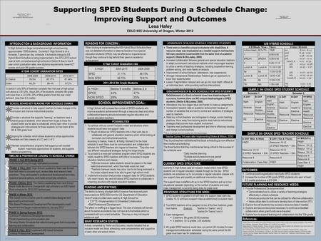 POSTER TEMPLATE BY RTI Schedule A Proposal to Implement a New