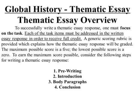 Global thematic essay introduction Term paper Writing Service