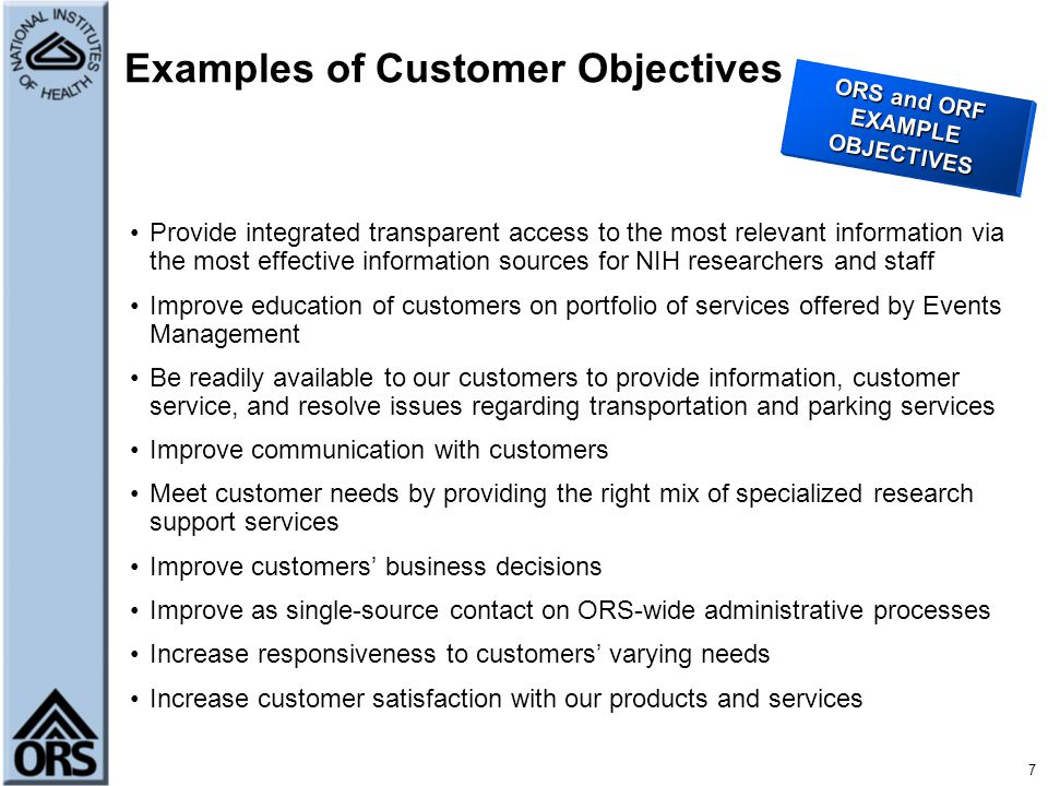 Customer Assessment Office of Quality Management - ppt download - customer objectives examples