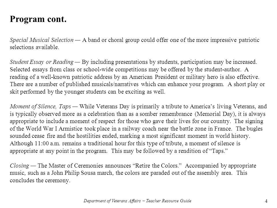 veterans essays department of veterans affairs teacher resource