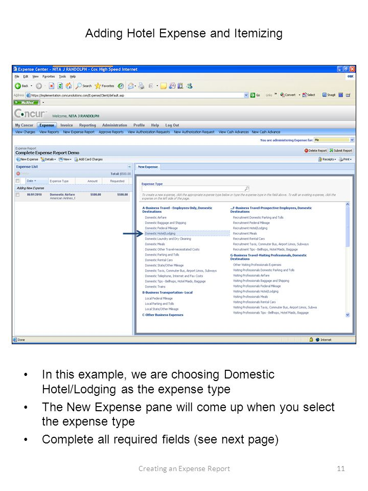 Creating a New Expense Report from My Concur Homepage - ppt download - example expense report