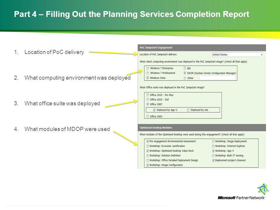 Filling and Submitting the Planning Services Completion Report - project completion report