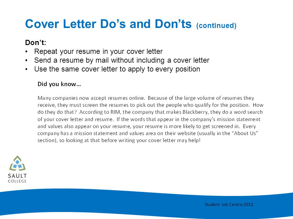resume and cover letter writing ppt