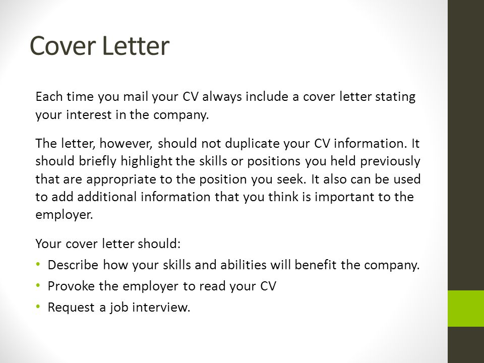 elements of a good cover letter