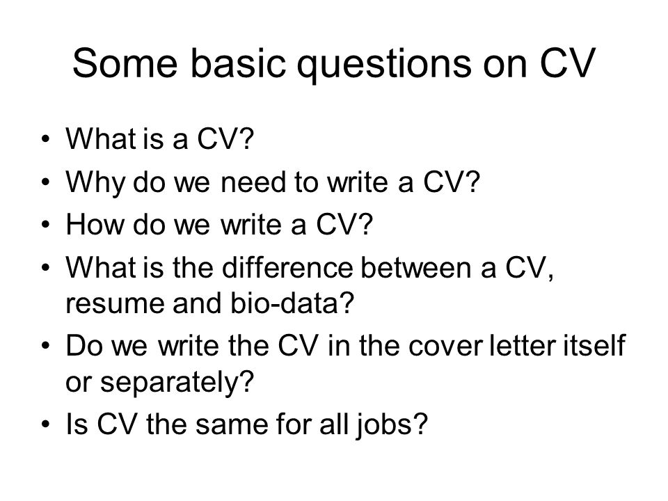 is cv and resume the same